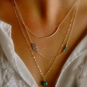 Jewelry - Boho Multi Layer Hamsa Fatima Evil Eye Necklace